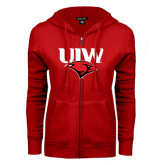 ENZA Ladies Red Fleece Full Zip Hoodie-UIW Cardinal Head Stacked