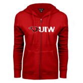 ENZA Ladies Red Fleece Full Zip Hoodie-Cardinal Head UIW