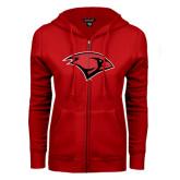 ENZA Ladies Red Fleece Full Zip Hoodie-Cardinal Head