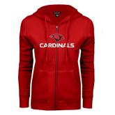 ENZA Ladies Red Fleece Full Zip Hoodie-Cardinals w/ Cardinal Head