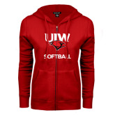 ENZA Ladies Red Fleece Full Zip Hoodie-Softball