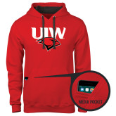 Contemporary Sofspun Red Hoodie-UIW Cardinal Head Stacked