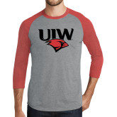 Grey/Red Heather Tri Blend Baseball Raglan-UIW Cardinal Head Stacked