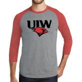 Grey/Red Heather Tri Blend Baseball Raglan-UIW Cardinal Head Stacked