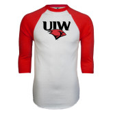 White/Red Raglan Baseball T-Shirt-UIW Cardinal Head Stacked