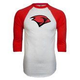 White/Red Raglan Baseball T-Shirt-Cardinal Head