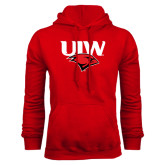Red Fleece Hood-UIW Cardinal Head Stacked