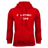 Red Fleece Hood-Volleyball with Ball