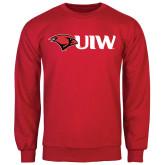 Red Fleece Crew-Cardinal Head UIW