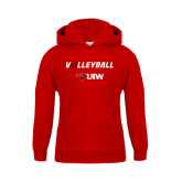 Youth Red Fleece Hoodie-Volleyball with Ball