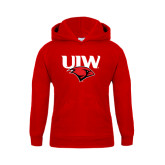 Youth Red Fleece Hoodie-UIW Cardinal Head Stacked