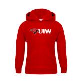 Youth Red Fleece Hoodie-Cardinal Head UIW