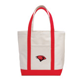 Contender White/Red Canvas Tote-Cardinal Head