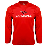 Performance Red Longsleeve Shirt-Cardinals w/ Cardinal Head