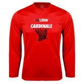Performance Red Longsleeve Shirt-Basketball Hanging Net
