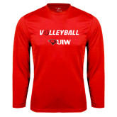 Performance Red Longsleeve Shirt-Volleyball with Ball