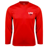 Performance Red Longsleeve Shirt-UIW Cardinal Head Stacked