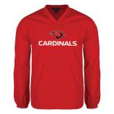 V Neck Red Raglan Windshirt-Cardinals w/ Cardinal Head