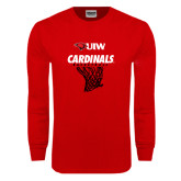 Red Long Sleeve T Shirt-Basketball Hanging Net