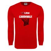 Red Long Sleeve T Shirt-Basketball Hanging Net