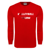 Red Long Sleeve T Shirt-Volleyball with Ball