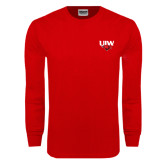 Red Long Sleeve T Shirt-UIW Cardinal Head Stacked