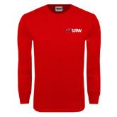 Red Long Sleeve T Shirt-Cardinal Head UIW