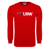 Red Long Sleeve T Shirt-Cardinal Head UIW
