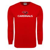 Red Long Sleeve T Shirt-Cardinals w/ Cardinal Head