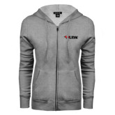 ENZA Ladies Grey Fleece Full Zip Hoodie-Cardinal Head UIW