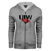 ENZA Ladies Grey Fleece Full Zip Hoodie-UIW Cardinal Head Stacked
