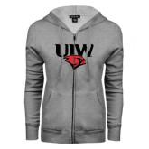 ENZA Ladies Grey Fleece Full Zip Hoodie-UIW Cardinal Head Stacked