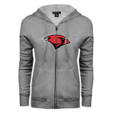 ENZA Ladies Grey Fleece Full Zip Hoodie-Cardinal Head