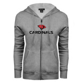 ENZA Ladies Grey Fleece Full Zip Hoodie-Cardinals w/ Cardinal Head