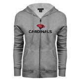 ENZA Ladies Grey Fleece Full Zip Hoodie-Cardinals w/ Cardinal Head