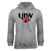 Grey Fleece Hoodie-UIW Cardinal Head Stacked