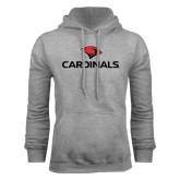 Grey Fleece Hoodie-Cardinals w/ Cardinal Head