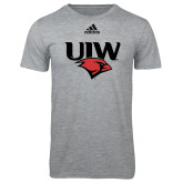 Adidas Sport Grey Logo T Shirt-UIW Cardinal Head Stacked