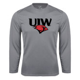 Performance Steel Longsleeve Shirt-UIW Cardinal Head Stacked