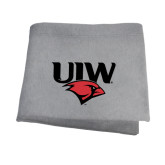 Grey Sweatshirt Blanket-UIW Cardinal Head Stacked