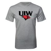 Grey T Shirt-UIW Cardinal Head Stacked