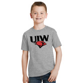 Youth Grey T-Shirt-UIW Cardinal Head Stacked