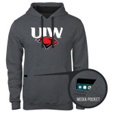 Contemporary Sofspun Charcoal Heather Hoodie-UIW Cardinal Head Stacked