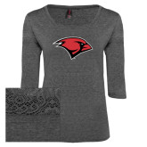 Ladies Charcoal Heather Tri Blend Lace 3/4 Sleeve Tee-Cardinal Head