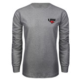 Grey Long Sleeve T Shirt-UIW Cardinal Head Stacked