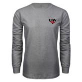 Grey Long Sleeve T Shirt-UIW Cardinal Head Stacked