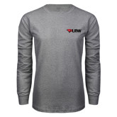 Grey Long Sleeve T Shirt-Cardinal Head UIW