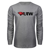 Grey Long Sleeve T Shirt-Cardinal Head UIW