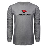 Grey Long Sleeve T Shirt-Cardinals w/ Cardinal Head