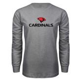 Grey Long Sleeve T Shirt-Cardinals w/ Cardinal Head